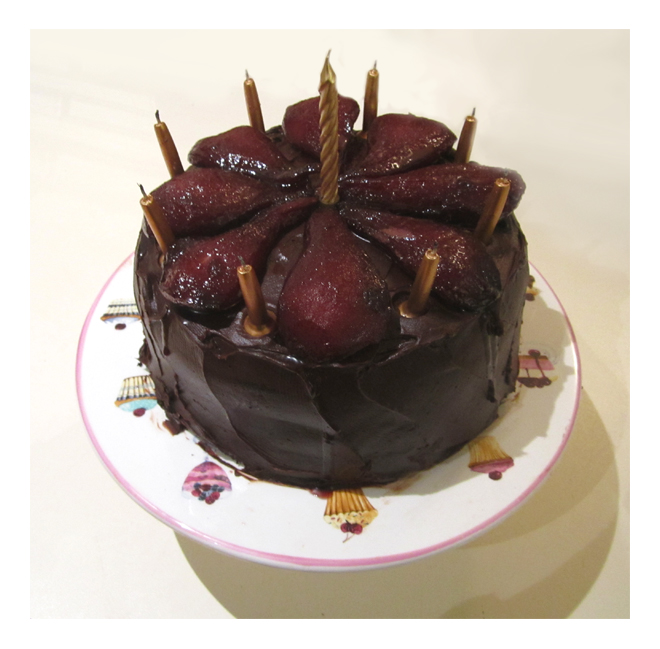 My Work Red Wine Chocolate Cake With Spiced Poached Pears