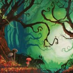 'Into the woods' theater backdrop.