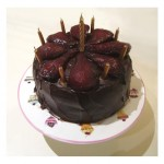 046 Red Wine Choc Cake with Spiced Poached Pears